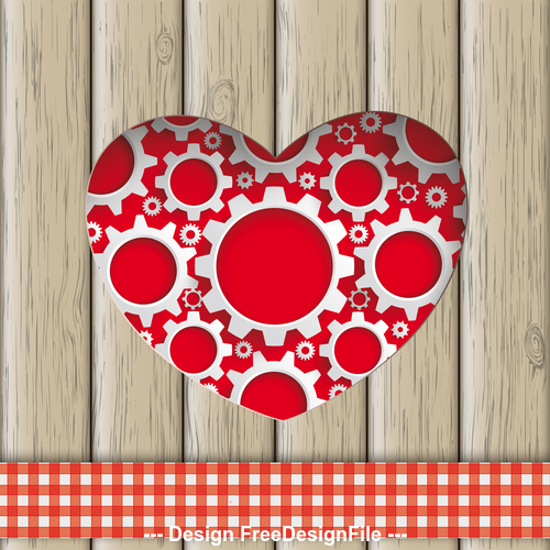 Heart Hole Gears Wood vector