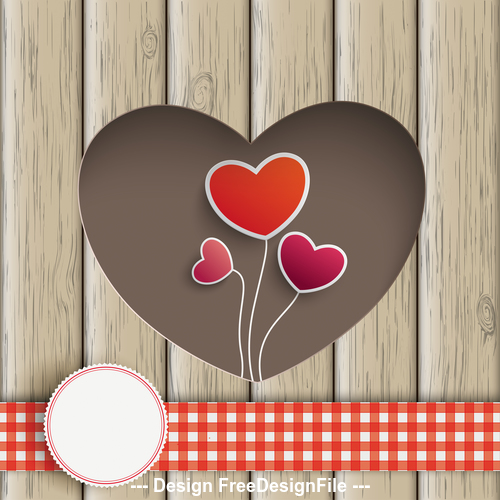 Heart Hole With Heart Balloons Wood vector