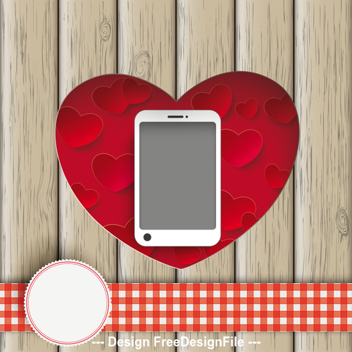 Heart Hole With Smartphone Wood vector