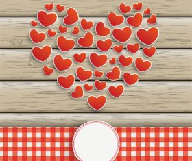 Hearts Heart Emblem Wooden Background vector