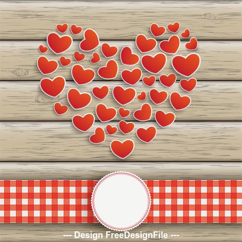 Hearts Heart Emblem Wooden Background vector
