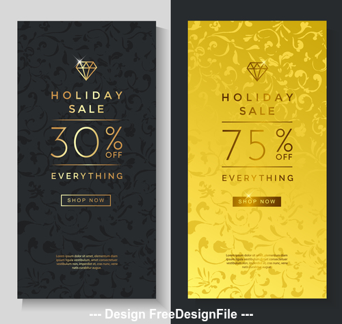 Holiday sale luxury banners vector