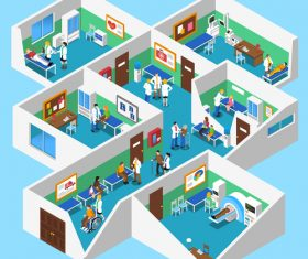 Hospital 3D illustration vector