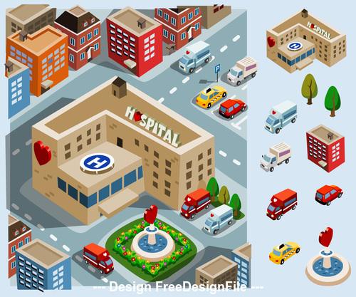Hospital cartoon vector