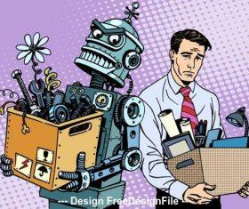 Human and robot cartoon vector