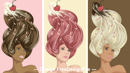 Icecream hairstyle vector