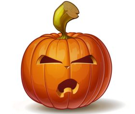 Illustration pumpkins angry vector