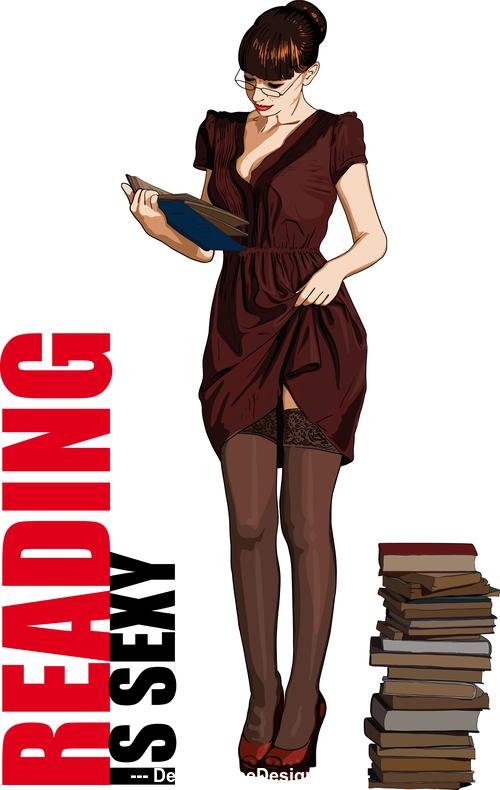 Illustration woman reading book vector