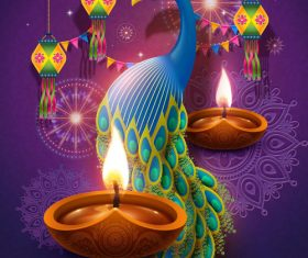 Indian Happy diwali festival decoration vector illustration