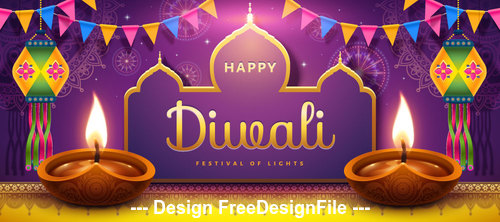 Indian happy diwali festival vector illustration