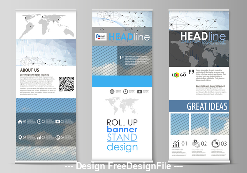 Information banner roll up design vector