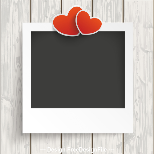 Instant Photo Frame 2 Hearts Wood vector
