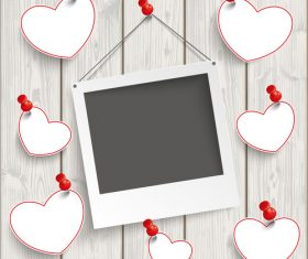 Instant Photo Frame Hanging Hearts Wood vector
