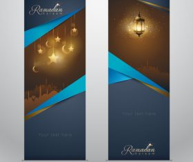 Islamic greeting on roll up banner Ramadan Kareem vertical template design with mosque and arabic lantern vector