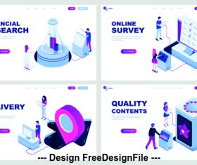 Isometric vector flat banner concept illustration