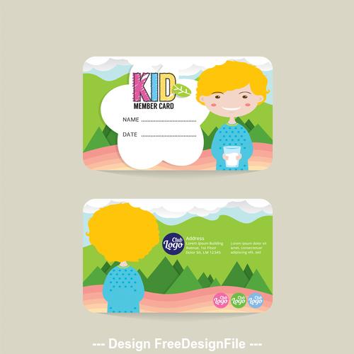 Kid club card vector