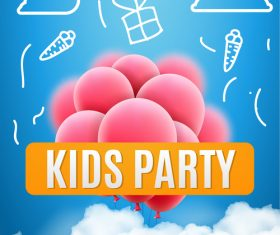 Kids party design elements banner vector