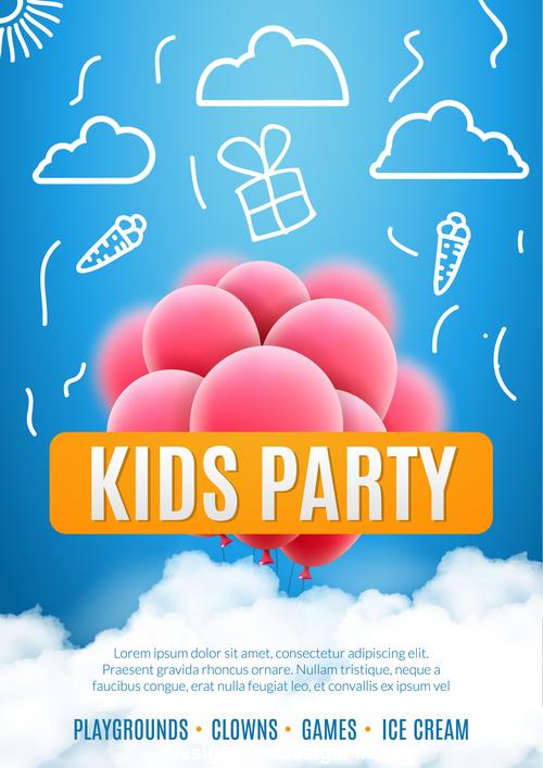 Kids party design elements banner vector
