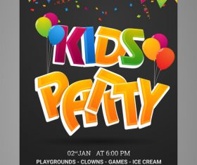 Kids party flyer vector