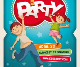 Kids party poster vector