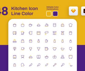 Kitchen icon line color vector