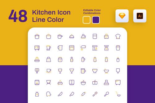 Kitchen icon line color vector