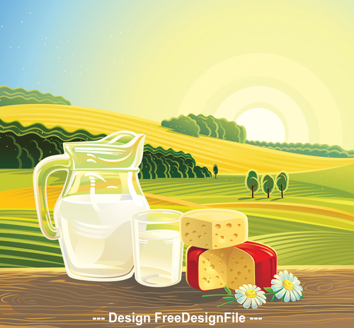 Landscape and milk vector