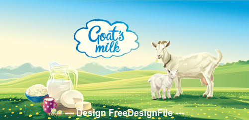 Landscape green and goat vector