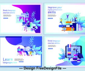 Learning cartoon banner vector