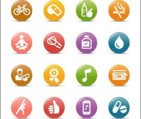 Life glossy buttons Icon vector