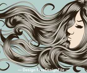 Long hair girl silhouette vector