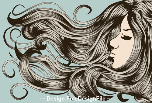 Long hair girl silhouette vector
