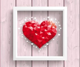 Low Poly Heart Pink Wood Frame vector