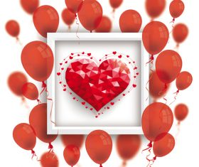 Low Poly Heart Red Balloons Frame vector