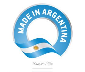 Made in Argentina flag blue color label button banner vector