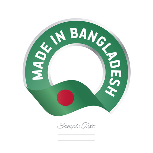Made in Bangladesh flag green color label button banner vector