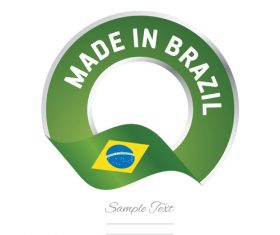 Made in Brazil flag green yellow color label button banner vector