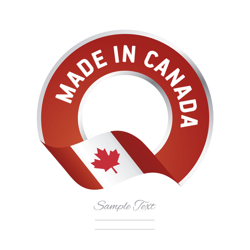 Made in Canada flag red color label button banner vector