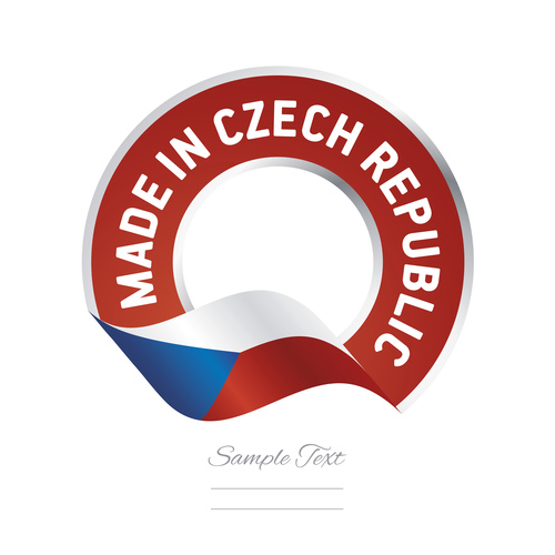 Made in Czech Republic flag red color label button banner vector