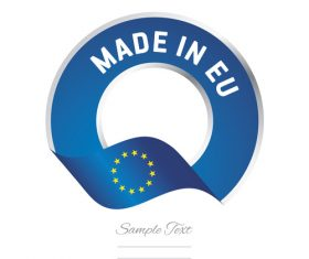 Made in EU flag blue color label button banner vector