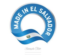 Made in El Salvador flag blue color label button banner vector