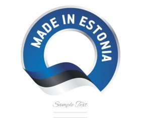 Made in Estonia flag blue color label button banner vector