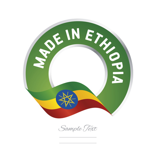 Made in Ethiopia flag green color label button banner vector