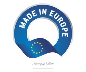 Made in Europe flag blue color label button banner vector