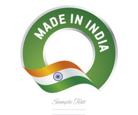 Made in India flag green color label button banner vector