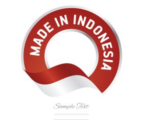Made in Indonesia flag red color label button banner vector