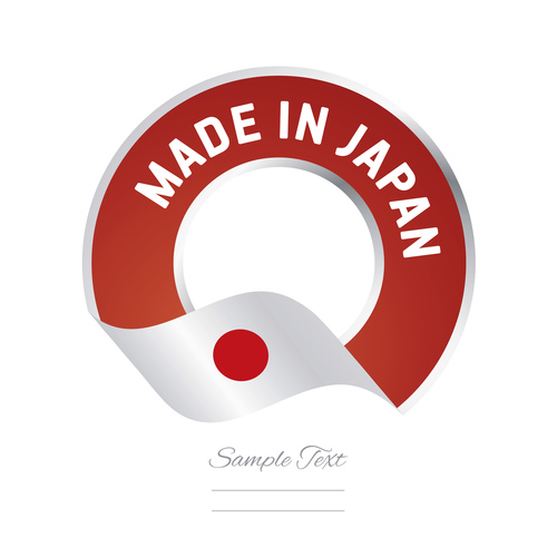 Made in Japan flag red color label button banner vector