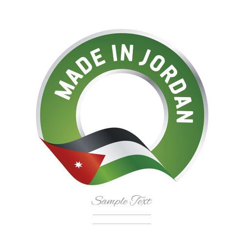 Made in Jordan flag green color label button banner vector