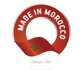 Made in Morocco flag red color label button banner vector