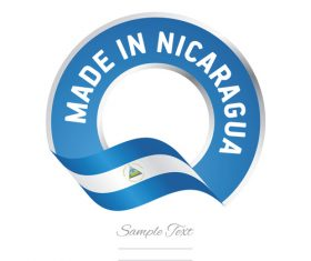 Made in Nicaragua flag blue color label button banner vector